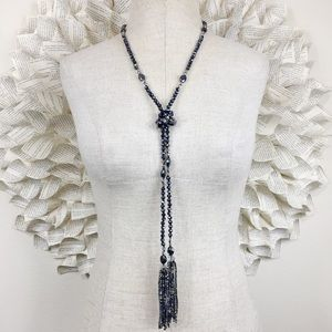 Black Crystal Tassel Tie Necklace